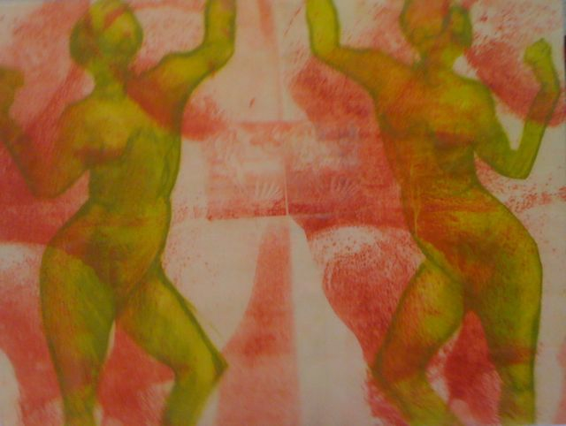 Ancient Venuts/Dance, drypoint & image transfer