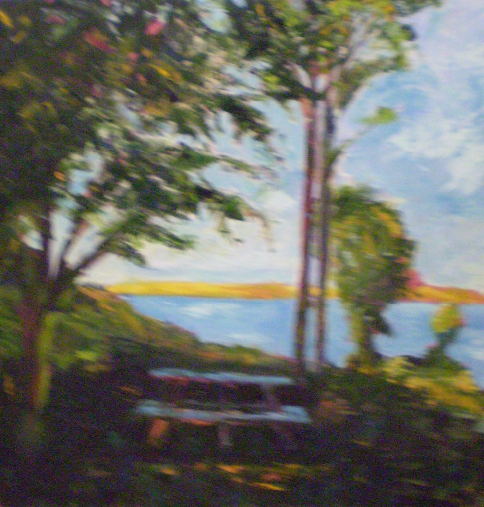 """Picnic Table - Oil on Canvas - 24""""x24"""""""