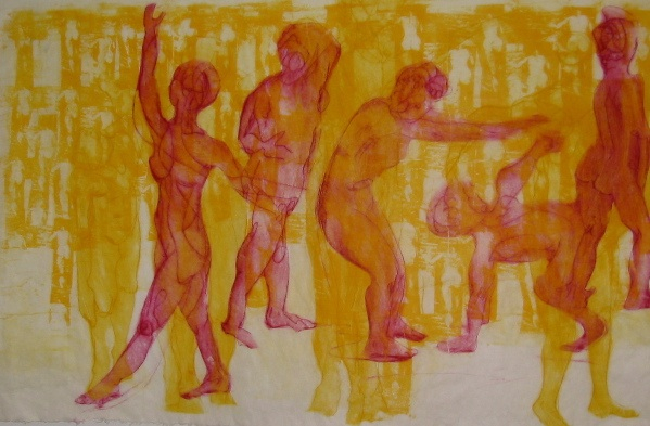 Red on Yellow Drypoint & image Transfer