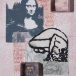 """Collage of printed media 11""""x14"""" on panel"""