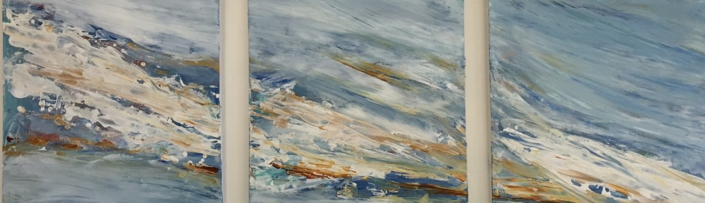 """Riptide - Acrylic on Canvas - Triptych - 20""""x 48"""" overall"""